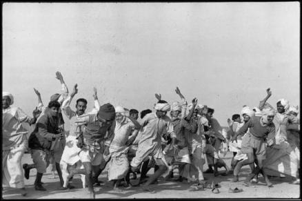 INDIA. Punjab. Kurukshetra. A refugee camp for 300.000 people. Refugees exercising in the camp to drive away lethargy and despair. Autumn 1947.