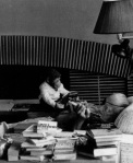 Fritz Lang & Peter the Monkey at home, c. 1960