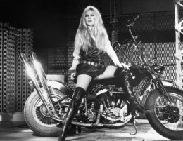 rigitte Bardot Posing on Motorcycle
