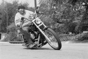 David Crosby Riding His Harley-Davidson Motorcycle
