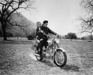 Elvis Presley And Barbara Stanwyck on Motorcycle
