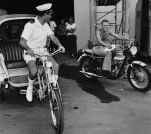 Steve McQueen Riding a Motorcycle