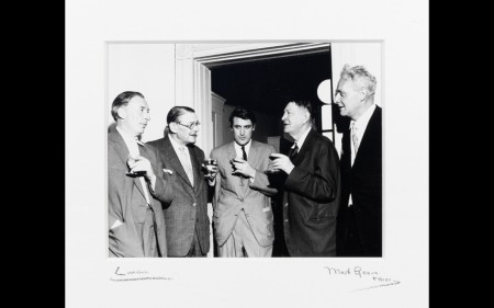 T.S. Eliot, W.H. Auden, Ted Hughes, Stephen Spender and Louis McNeice in Faber and Faber's offices, 24 Russell Square, 1960.