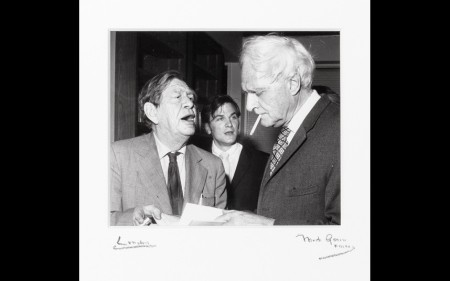 WH Auden barking at Stephen Spender at Faber and Faber's offices in 1972.