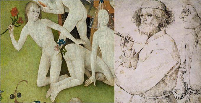 Αριστερά: Ιερώνυμος Μπος, ο Κήπος των Επίγειων Ηδονών.  Δεξιά: Πίτερ Μπρύγκελ, αυτοπροσωπογραφία: ο Καλλιτέχνης και ο Connoisseur