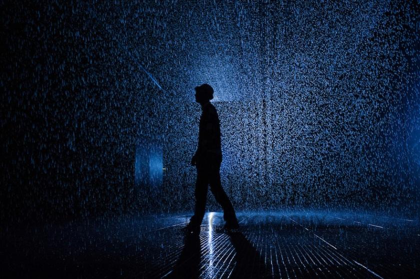 Rain Room, Barbican, London, UK.