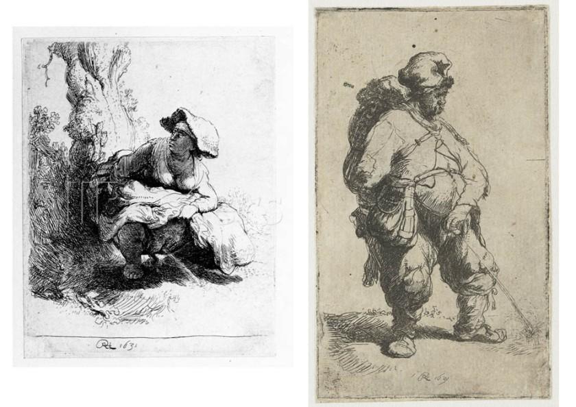 Γυναίκα που ουρεί (αριστερά), άνδρας που ουρεί (δεξιά). Ρέμπραντ, 1631.