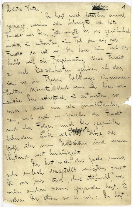 Η πρώτη σελίδα από το «Γράμμα στον πατέρα»