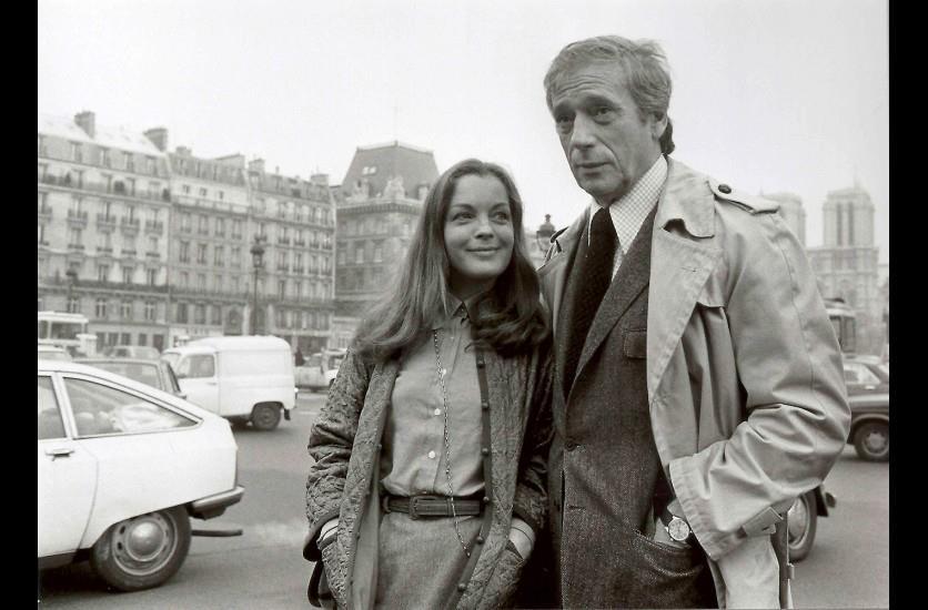 Ιβ Μοντάν και Ρόμι Σνάιντερ (γυρίσματα της ταινίας Claire femme), Παρίσι, 1989