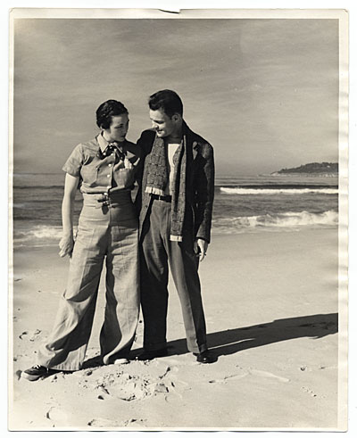 Betty and Harry Bowden on the beach at Carmel, California, ca. 1940