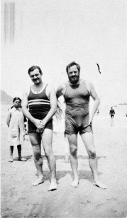Ernest Hemingway and Waldo Pierce at the Beach, San Sebastian, Spain