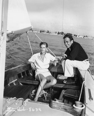 Lauren Bacall and Humphrey Bogart sailing