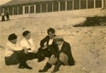 Mary Austin, Jack London, George Sterling, and Jimmie Hooper on the beach at Carmel.