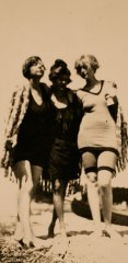 """""""Three Graces"""" pose: (From left to right): Rue Carpenter, Sara Murphy, and Ginny Carpenter), Antibes, c. 1923."""
