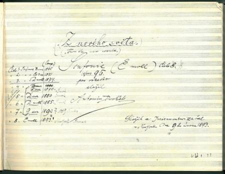 Χειρόγραφο του Ντβόρζακ με τον τίτλο της 9ης συμφωνίας: «Από τον Νέο Κόσμο».