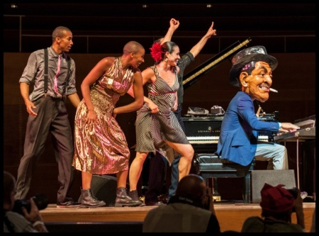 Pianist Jason Moran wears Fats Waller head while vamping for dancers