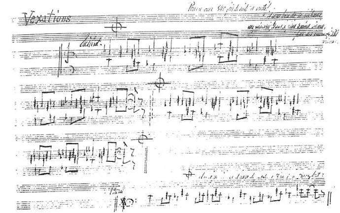 Vexations — η χειρόγραφη παρτιτούρα του Satie