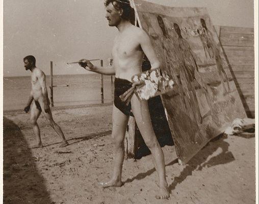 Ο Μουνχ ζωγραφίζει στην παραλία του Warnemünde (1907)