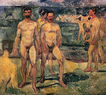 Edvard Munch, Group of nude men. Στην παραλία του Warnemünde (1907)