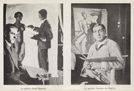 A page from Variétés magazine in 1929, with photographs of René Magritte in front of Tentative de l'impossible (Attempting the Impossible, 1928), and Giorgio de Chirico in front of an unidentified painting (likely from his Gladiator series).