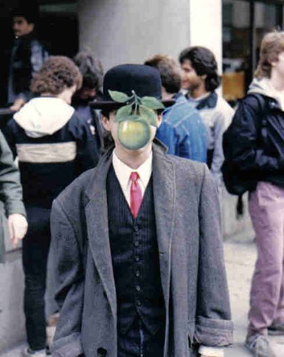 MoMA editor Jocelyn Meinhardt finds tributes to Magritte's work including a Halloween costume of a former high school classmate (this photo!).