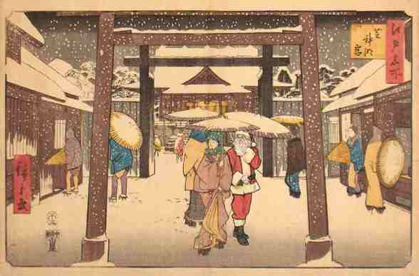 Heavy Snow and Visitors to the Shiba Jingu Palace Inspired by: Ichiryusai Hiroshige Heavy Snow and Visitors to the Shiba Jingu Palace - 1858