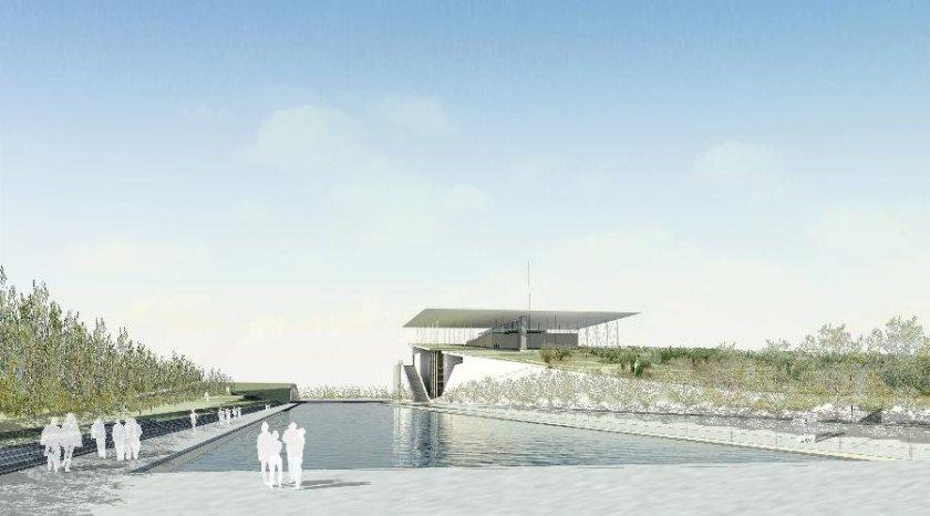 Σχέδιο του αρχιτέκτονα Ρέντσο Πιάνο για το κτίριο στο Φαληρικό Δέλτα (φωτό από «Το Βήμα»).