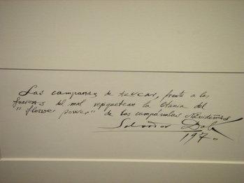 Χειρόγραφο σημείωμα του Νταλί που αναφέρεται στο παραπάνω έργο (1970)
