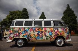 A Volkswagen Kombi minibus painted in flowers