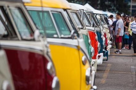 Colourful Volkswagen Kombi minibuses