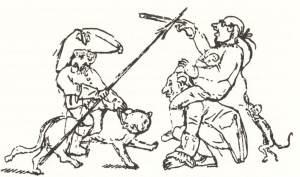 Το σκίτσο είναι του ίδιου του Χόφμαν, όπου τον δείχνει καβάλα στον γάτο Μουρ να πολεμάει την πρωσική γραφειοκρατία.