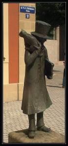 Άγαλμα του Χόφμαν και του γάτου του, στην Μπάμπεργκ.