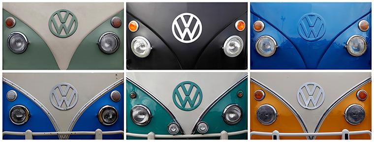 The Volkswagen logo. The classic VW Type 2 camper van has been made in Braz