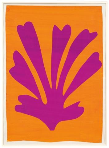 Violet leaf on Orange Background