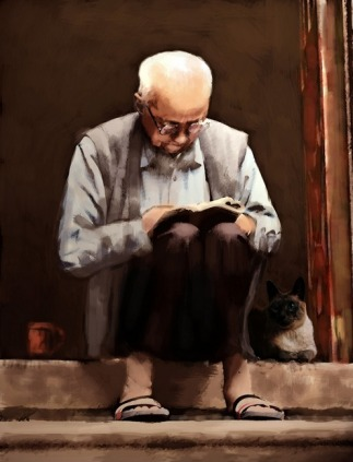 Reading-painting-old-man-on-stoop