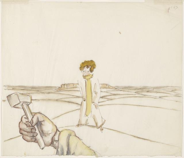 MA 2592.32 Saint-ExupeÌry, Antoine de, 1900-1944.   Le petit prince et la main du pilote tenant un marteau  [New York, 1942]
