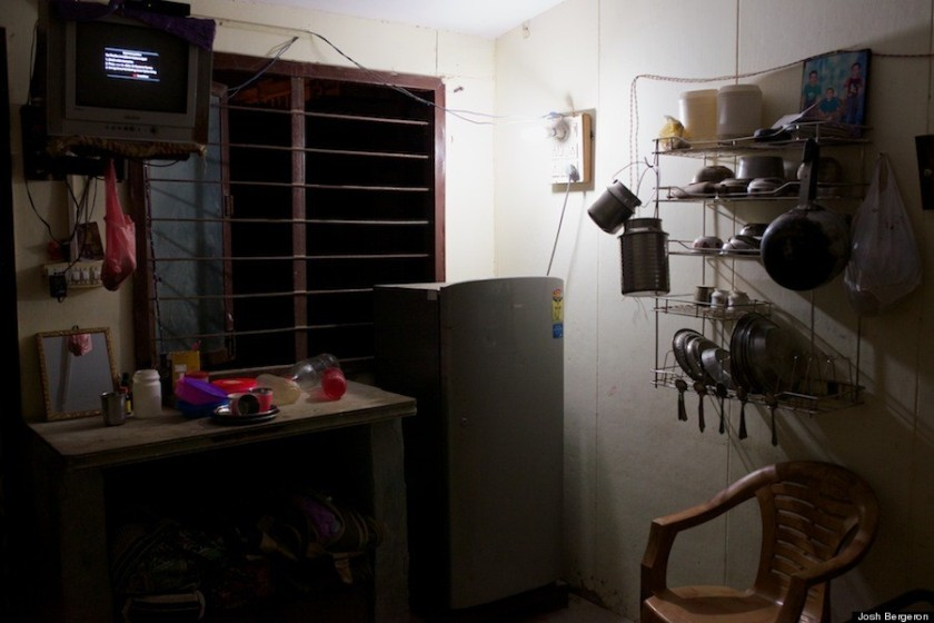 Inside a room at the Anand Parbat temporary resettlement colony.