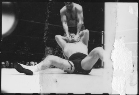 Gorgeous George and another man wrestling in Chicago