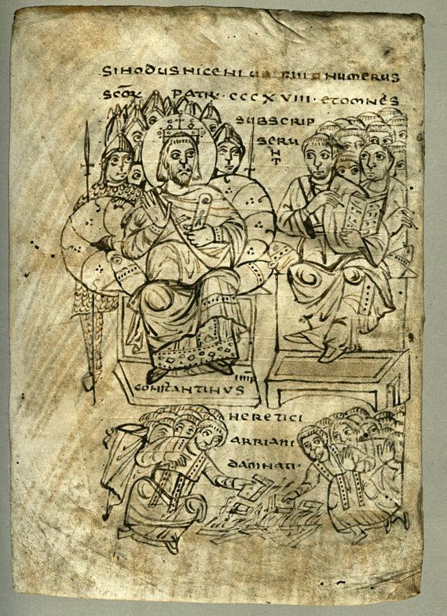 640px-Constantine_burning_Arian_books_Nicaea