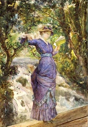 Bashkirtseff,_Marie_(1858-1884) γυναίκα διαβάζει σε καταρράχτη