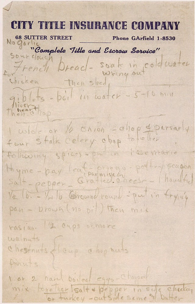 Marilyn Monroe's Handwritten Turkey-and-Stuffing Recipe (1)