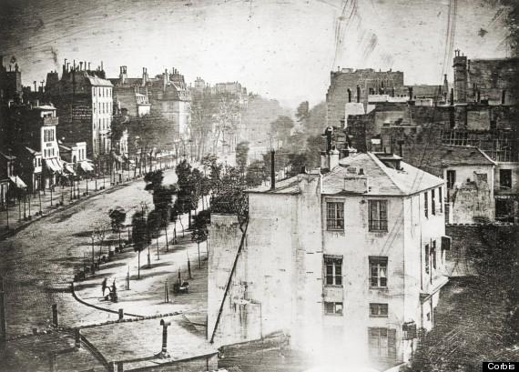 Daguerreotype of Boulevard du Temple
