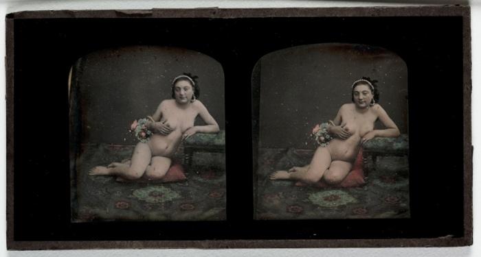 Γυμνό, c 1855. Αυτή η επιχρωματισμένη στερεοσκοπική φωτογραφία είναι ειδικά σχεδιασμένη ώστε να δίνει την ψευδαίσθηση τρισδιάστατης εικόνας. Ο εφευρέτης της, Sir Charles Wheatstone, είναι εκείνος που επινόησε και την κονσερτίνα.