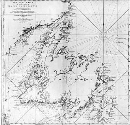 χάρτης Νέας Γης στον Καναδά του Κουκ