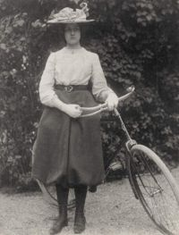 Denise with bicycle that her father gave her in 1899