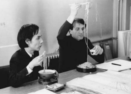 Toru Takemitsu and Iannis Xenakis eating soba