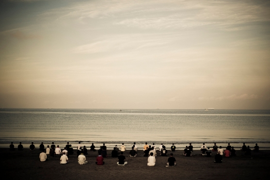 In a covert training camp, young Yakuza recruits line up every morning at 5.00 a.m. on the beach to have a moment of meditation, led by master Samurai swordsman Nakata Sensei, before they start their daily training routine of close combat fighting, bodyguard training, and knife practice - 2009