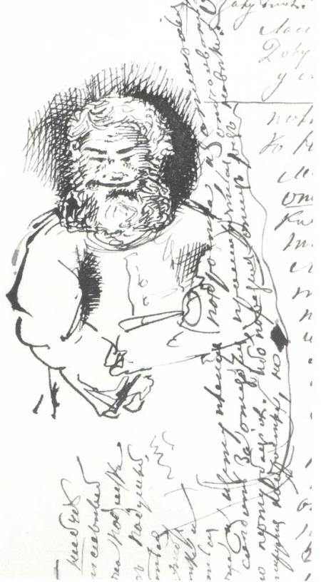Ηλικιωμένος άντρας, στο χειρόγραφο του μυθιστορήματος «Έφηβος», 1872-1875, Κρατικά Αρχεία Λογοτεχνίας και Τέχνης, Μόσχα.