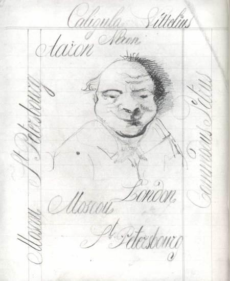 Καλλιγραφία και ανδρικό πορτρέτο, στο χειρόγραφο του μυθιστορήματος «Ο Ηλίθιος», 1867-1871, Κρατικά Αρχεία Λογοτεχνίας και Τέχνης, Μόσχα.