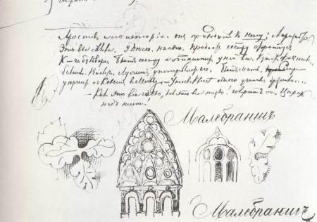Αρχιτεκτονικά και διακοσμητικά σχέδια, στο χειρόγραφο του μυθιστορήματος «Έγκλημα και τιμωρία», 1860-1866, Κρατικά Αρχεία Λογοτεχνίας και Τέχνης, Μόσχα.